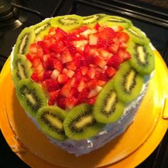 My 2 layered strawberry and kiwi heart-shaped cake!