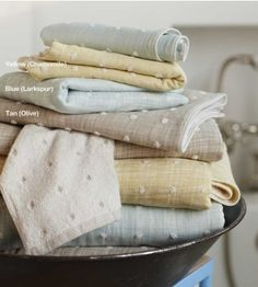 #InspiredGreenLiving with Kusaki puff towels.  Kusaki-zome, a Japanese technique that extracts pastel pigments from plants - chamomile, larkspur and olive leaves - creates an exquisite tonality of hues. Super-sized and dappled with slightly raised puffs, these color-safe, organic cotton Japanese originals offer extreme absorbency and sublime softness.