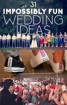 Let me just say very few of these ideas are actually cook. Even though I'm young and have an event planning company doesn't mean all ideas are truly cool. Truth be told many of them are lame and not going to be fun memories to look back on in 15-25 + years. 31 Impossibly Fun Wedding Ideas #FunWeddingIdeas