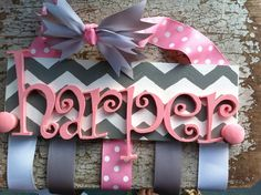 Personalized wood hair bow holder with added wood knobs for head bands on Etsy, $27.00