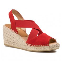 Espadrile KANNA - 19KV8071 Ante Rojo Espadrilles, Wedges, Sandals, Shopping, Shoes, Fashion, Red, Espadrilles Outfit, Moda
