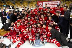 BU Terriers celebrate winning the 2015 Beanpot Tournament which earned them their 30th championship title, the most of any of the tournament's four schools