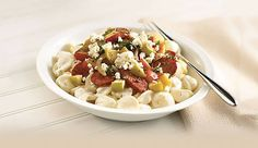 When you add a little Boursin Garlic & Fine Herbs Cheese and turkey sausage, it becomes Farmhouse Mac 'n Cheese—a robust dish your entire family will enjoy. Boursin Recipes, Cheese Recipes, Meat Recipes, Pasta Recipes, Meat Meals, Entree Recipes, Side Dish Recipes, All You Need Is, Boursin Cheese