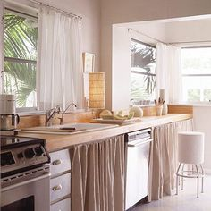 32 Ideas Unique Kitchen Cabinet Curtain Ideas To Hide Your Clutter, For curtains you first have to decide what kind of curtains you wish to put on your windows. Needless to say, there are a number of things you need to. Home Curtains, Kitchen Curtains, Pleated Curtains, Rental Kitchen, New Kitchen, Life Kitchen, Kitchen Sink, Vintage Kitchen, Rustic Kitchen Cabinets