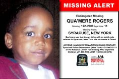 QUA'MERE ROGERS, Age Now: 11, Missing: 12/01/2008. Missing From SYRACUSE, NY. ANYONE HAVING INFORMATION SHOULD CONTACT: Syracuse Police Department (New York) 1-315-442-5111.