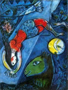 Marc Chagall - Blue Circus (Le cirque bleu), 1950–52. Oil on canvas