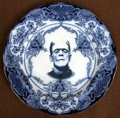 Flow Blue Frankenstien Portrait Plate - Altered Antique Plate