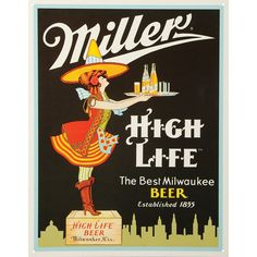 Miller Server Tin Sign 10.5'W x 16'H ** Tried it! Love it! Click the image. : Home Decorative Accessories