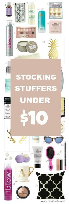 SO MANY GREAT FINDS! Ahhh | Beauty and fashion blogger Mash Elle compiles a list of stocking stuffer ideas for her all under $10. For family, friends and colleagues, this Christmas gift list will have something for everyone!