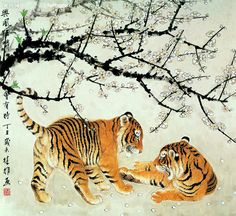 Chinese painting of tigers