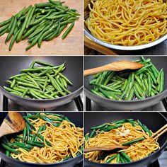 nom nom nom, braised noodles with green beans.