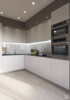 "For a small kitchen ""spacious"" it is above all a kitchen layout I or U kitchen layout according to the configuration of the space. Kitchen Room Design, Luxury Kitchen Design, Kitchen Cabinet Design, Kitchen Sets, Kitchen Layout, Home Decor Kitchen, Interior Design Kitchen, Home Kitchens, Kitchen Lamps"
