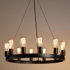 These are inexpensive and we could do a series of them over the lounge area - $279 - Only 1 size - One of my favorite discoveries at WorldMarket.com: Round 12-Light Edison Bulb Chandelier