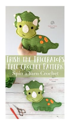 crochet dinosaur patterns Our Stegosaurus Dinosaur Crochet Pattern Makes An Amigurumi Pillow With Rosy Kawaii Cheeks And Smile! Our Stegosaurus works up quickly! Crochet Dinosaur Patterns, Crochet Patterns Amigurumi, Crochet Dolls, Crochet Yarn, Free Crochet, Crochet Deer, Crochet Animals, Crochet Crafts, Crochet Projects