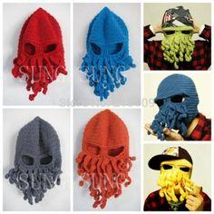 Free Shipping new 2014 Novelty Handmade Knitting Wool Funny Beard Octopus Hats caps Crochet knight Beanies For men Unisex Gift