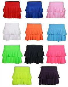 2-tier Ra-Ra Mini Skirts - perfect for creating an eighties costume