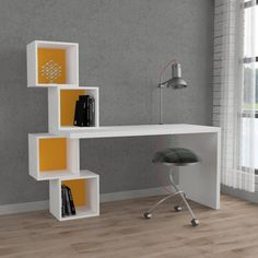Stylish and unique home office desk great looking and practical too with storage space for equipment and accessories. - Office Desk - Ideas of Office Desk Home Office Furniture Desk, Home Office Space, Home Office Desks, Office Decor, Study Table Designs, Study Room Decor, Desk And Chair Set, Home Room Design, Diy Home Decor