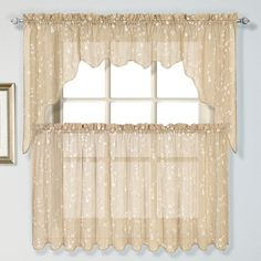 Savannah curtains are a casual addition to any window. Delicate embroidered woven fau linen. 100% Polyester with 100% cotton Embroidery  #Sheer #Kitchen #Curtains