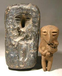 Pottery Mold and Figure [Manabi-Bahia culture of Pre-Columbian Ecuador, 500 BC - 300 AD]