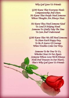 Why God Gave Us Friends · Best Friend PoemsFriend QuotesPoems About Best FriendsValentines  Day ...