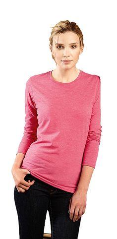 Dames t-shirt met lange mouwen en ronde hals    - 65% polyester en 35% ringgesponnen gekamd katoen  - grammage: 155 g/m2 (wit), 160 g/m2 (kleur)  - geschikt voor sublimatieprint  - ook verkrijgbaar in een heren model   - verwijderbaar neklabel  - slim fit