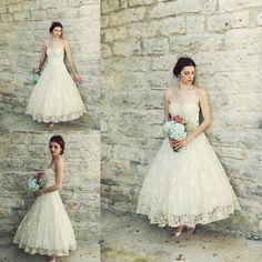 Vintage 1950s Tea Length Wedding Dresses Antique Ivory Lace A-line Sweetheart Full Skirt Beach Bridal Gowns Plus Size Vestidos de Novia