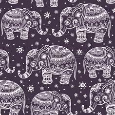 Ethnic elephant seamless pattern
