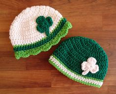 Crocheted Twin Baby Boy/Girl St. Patrick's Day Hat Set, White, Kelly Green & Lime Green with Shamrocks, Newborn to 24 Months - MADE TO ORDER by KaraAndMollysKids on Etsy https://www.etsy.com/listing/178239675/crocheted-twin-baby-boygirl-st-patricks