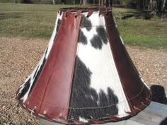 Leather Cowhide Lamp Shade Rustic Southwestern 1119