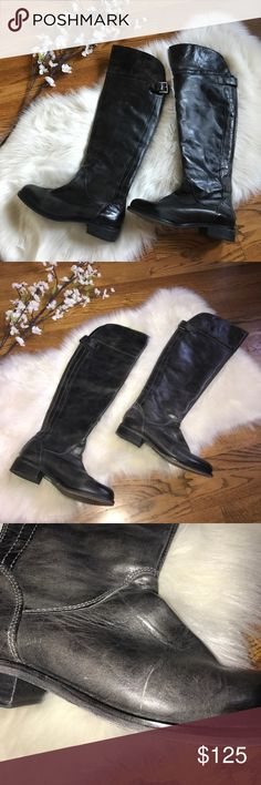 Hinge 'Sanibel' distressed over the knee boot 8.5 Super cute distressed leather boots from Nordstrom. Hinge 'Sanibel' over the knee boots are perfect for fall! Some scratches/imperfections in leather. Please refer to photos. Buckle in back. Zip up closure on back of both boots make them easy to put on and take off. Distressed black color. hinge Shoes Over the Knee Boots