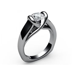 Cathedral tension Solitaire Diamond Engagement Ring in 18K White gold (1.00 ct.) - Solitaire Diamond Rings
