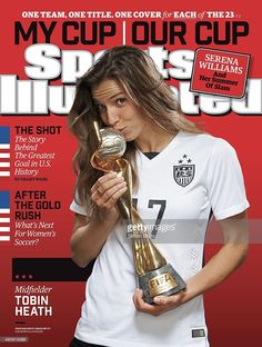 Portrait of US Women's National Team midfielder Tobin Heath (17) holding trophy during photo shoot at ABC News' Good Morning America Studio. Cover. Simon Bruty