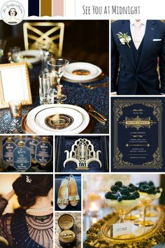 New Years Eve Wedding Ideas in Midnight Blue & Gold