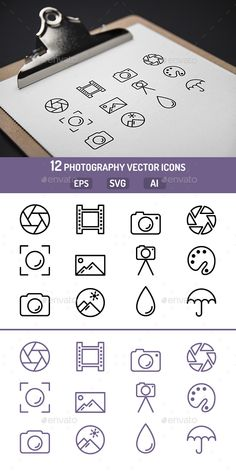 Photography Icons — EPS Template #retro #housing • Download ➝ https://graphicriver.net/item/photography-icons/18655644?ref=pxcr