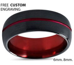 http://rubies.work/0462-sapphire-ring/ Tungsten Ring Mens Black Red Wedding Band by BellyssaJewelry