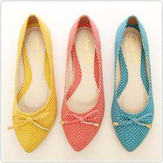 BN Polka Dots Cute Ladies Pointed Toe Bowed Comfy Ballet Flats Pink Yellow Blue
