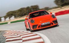 Indir duvar kağıdı Porsche 911 model daha yüksek, 2018 arabalar, süper arabalar, Lav, Turuncu, Alman otomobil, Porsche