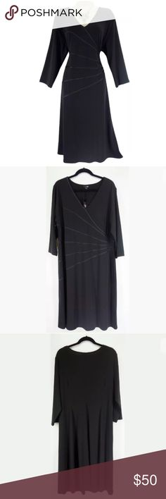 """2X 18 20 BLACK STARBURST LINES DRESS Plus Size This sexy, flattering, timeless black dress is perfect for a day or evening occasion!   Size: 2X Slip on/ slip off V-neckline Black satiny starburst lines give a flattering, sexy illusion Stretchy, super comfortable fabric Measurements: Bust (armpit to armpit):  46"""" relaxed - stretches to 59"""" Waist: 43"""" relaxed - stretches to 48"""" Hips:  52"""" relaxed Length: 44"""" (top of shoulder to bottom hem)   Condition: BRAND NEW WITH TAGS! Fabric Content: 93%…"""
