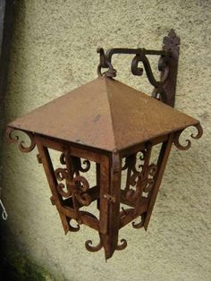 Sold hh 5343 wrought iron exterior lantern antique - Fierro forjado santiago ...