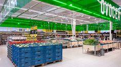 Projeto de comunicação visual para o Supermercado Albert na República Tcheca, desenvolvido pelo escritório de design Blink.