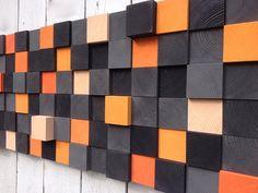 Art moderne mur bois - Installation murale de Sculpture sur bois