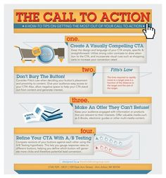 """Call to Action -Turn Website Visitors into #Customers   A call to action (CTA) is a short phrase that urges web visitors to perform a desired action. """"Sign up today"""", """"Call now"""", """"Download"""", """"Buy now"""", etc. are all good examples of CTA's. A clear and effective CTA will help capture leads and turn web visitors into sales or prospects."""