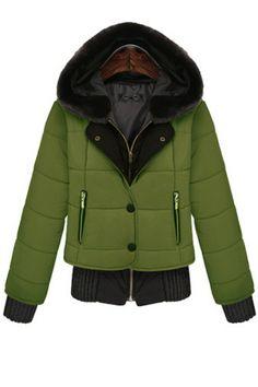 Paneled Hooded Parka Coat