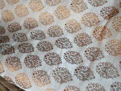 Silk Brocade Fabric in Brown and Gold Motifs Pattern Weaving - Indian Silk