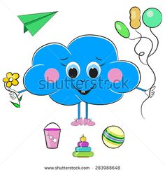 Hilarious Cloud With Toys Illustration - stock vector