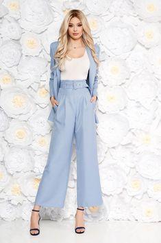StarShinerS lightblue elegant lady set flared pants accessorized with belt with pockets, long sleeves, with pockets, accessorized with belt, flared pants
