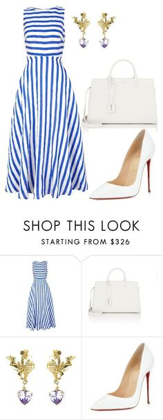 Blue striped dress with white heels & purse.