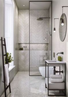 13 Rental Renovations You Can Probably Get Away With - bathroom - badezimmer Bathroom Layout, Modern Bathroom Design, Bathroom Interior Design, Bathroom Ideas, Bathroom Organization, Bath Ideas, Bathroom Storage, Small Bathroom Floor Plans, Chevron Bathroom