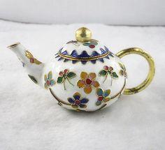 Chinese-MiNi-Ornament-collectible-Cloisonne-Enamel-copper-Teapots-white-1pc