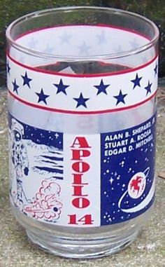 Vintage Apollo 14 February 5, 1971 NASA Space Drinking Glass